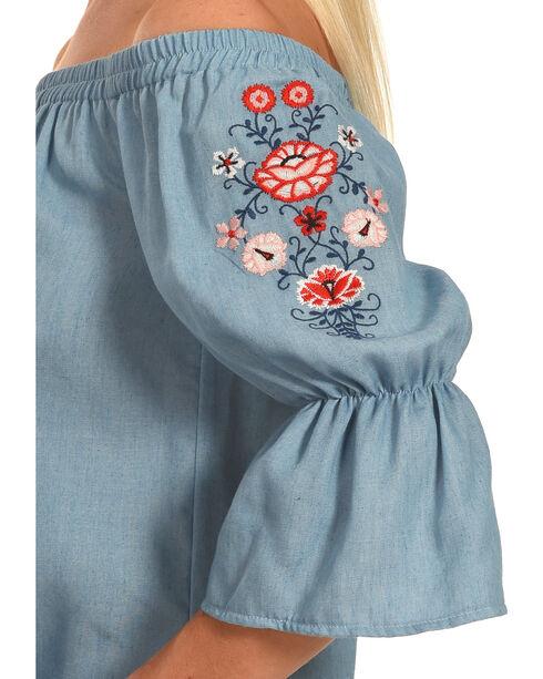Polagram Women's Off-the-Shoulder Embroidered Denim Mini Dress, Indigo, hi-res