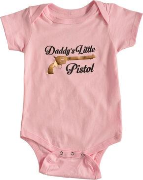 Shyanne Infant Girls' Daddy's Little Pistol Onesie, Pink, hi-res