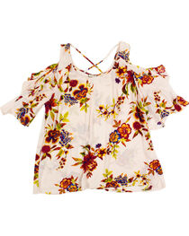 Eyeshadow Women's Plus Floral Cold Shoulder Top, , hi-res