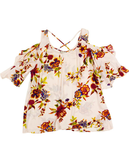 Eyeshadow Women's Plus Floral Cold Shoulder Top, Ivory, hi-res