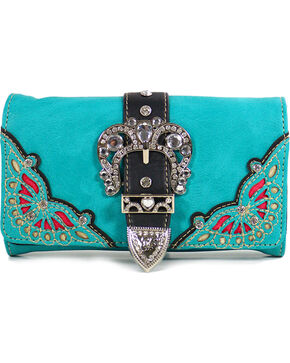 Women's Buckle & Overlay Wallet Clutch, Turquoise, hi-res