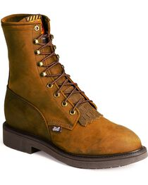 """Justin Men's 8"""" Lace Up Steel Toe Work Boots, , hi-res"""