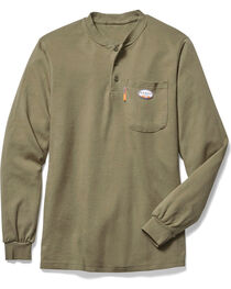 Rasco Men's Khaki FR Henley T-Shirt , , hi-res