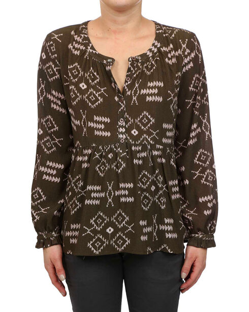 Glam Women's Olive Aztec Peplum Ruffle Sleeve Top , Olive, hi-res