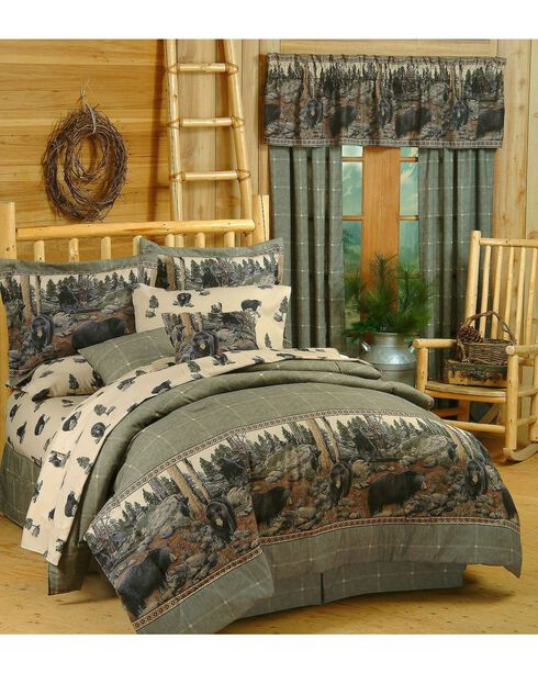 Blue Ridge Trading Bears Queen Comforter Set, Black, hi-res