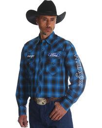 Wrangler Men's Ford Plaid Western Logo Shirt, , hi-res