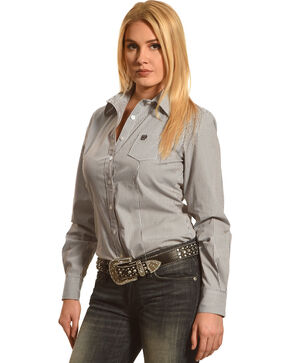 Cinch Women's Long Sleeve Shirt, Charcoal Grey, hi-res