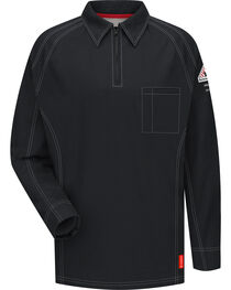 Bulwark Men's Black iQ Series Flame Resistant Long Sleeve Polo, , hi-res