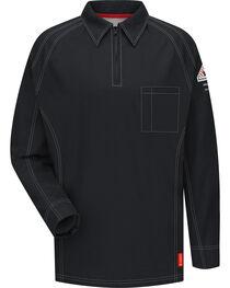 Bulwark Men's Black iQ Series Flame Resistant Long Sleeve Polo - Big & Tall, , hi-res