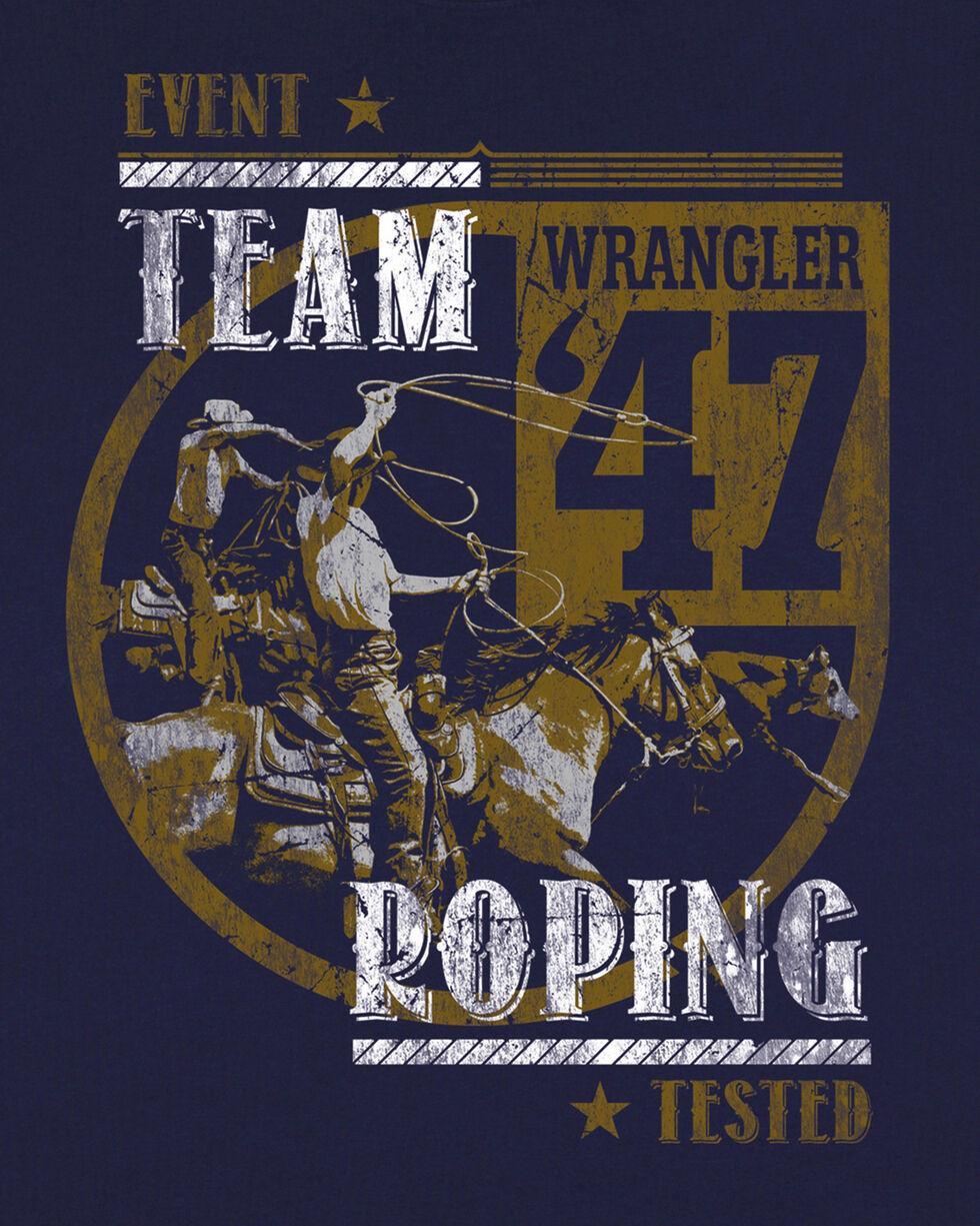 Wrangler Boys' Navy Team Roping Short Sleeve Tee , Navy, hi-res
