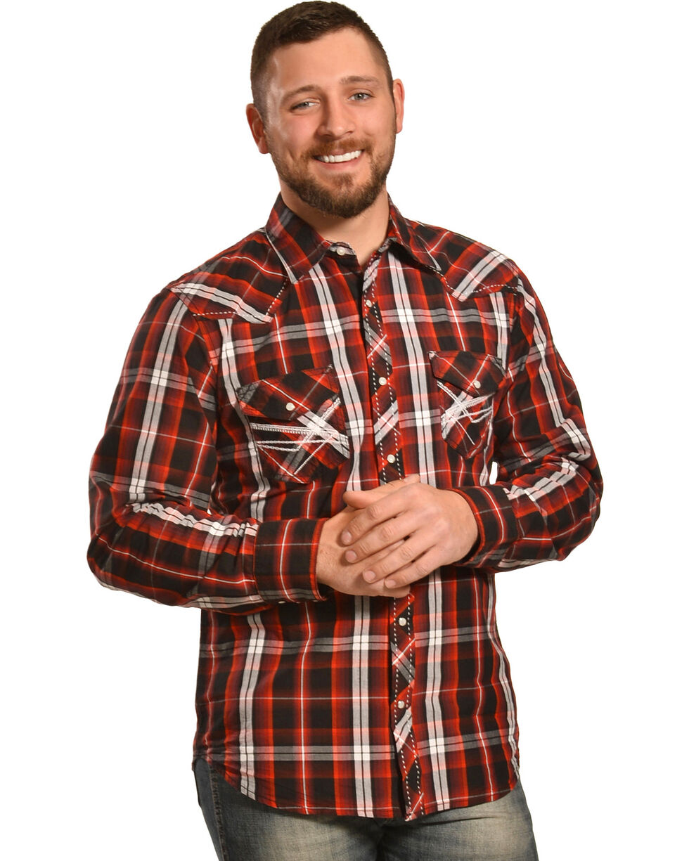 Ely 1878 Men's Red and Black Plaid Pickstitch Western Shirt , Red, hi-res