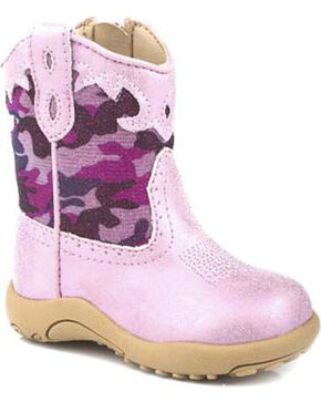 Roper Infant's Pink Cowbabies Leather Metallic Camo Western Boots, Pink, hi-res