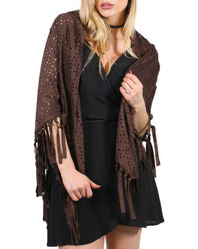 Shyanne® Women's Fringe Trim Scarf, Brown, hi-res