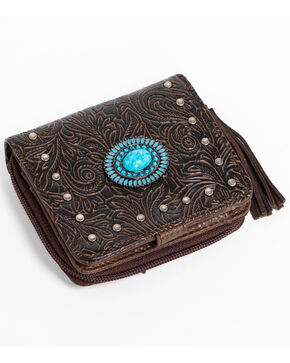 Shyanne Katrina Turquoise Concho Wallet, Dark Brown, hi-res