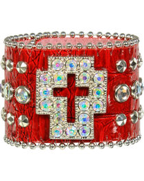 Shyanne® Women's Rhinestone Cross and Gator Print Snap Bracelet, , hi-res