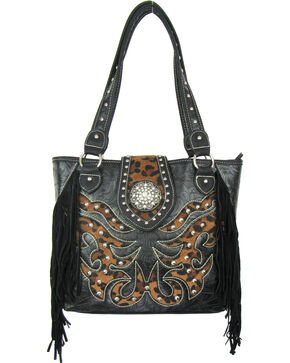 Savana Black Conceal Carry Tote Bag, Black, hi-res