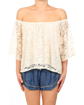 Glam Women's Rachel Off the Shoulder Top , Cream, hi-res