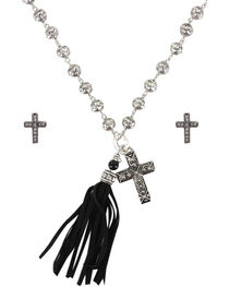 Shyanne® Women's Faith and Fringe Jewelry Set, Silver, hi-res