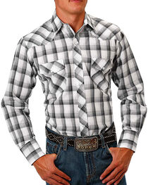 Roper Men's Plaid Long Sleeve Shirt , White, hi-res