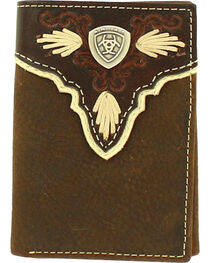 Ariat Men's Tri-fold Pierced Shell Wallet , , hi-res