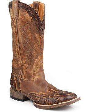 Stetson Men's Handtooled Wingtip Western Boots, Brown, hi-res