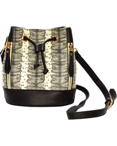 Wear N.E. Wear Women's Black Drawstring Snakeskin Shoulder Bag, Black, hi-res