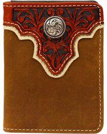 Ariat Men's Bi-fold Flipcase Concho Leather Wallet, , hi-res