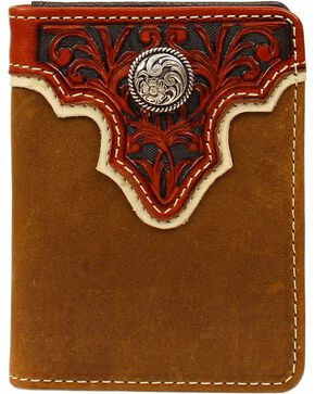 Ariat Men's Bi-fold Flipcase Concho Leather Wallet, Light Brown, hi-res