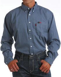 Cinch Men's Blue Geometric Print FR Shirt , , hi-res