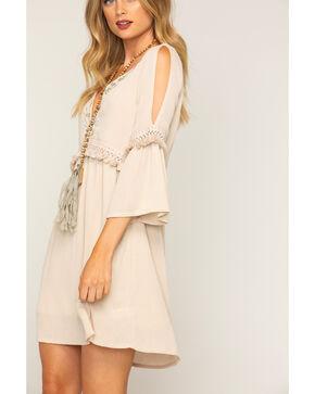 Shyanne Women's Fringe Trim 3/4 Sleeve Dress, White, hi-res
