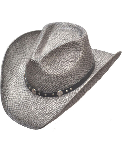 Western Express Silver Pinch Front Straw Hat, Silver, hi-res
