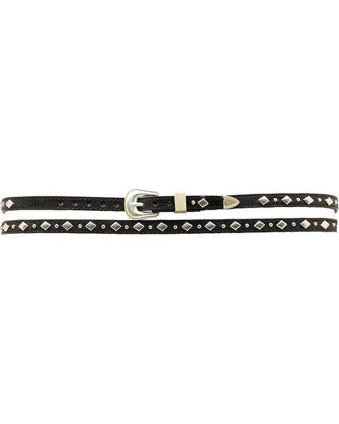 Black Leather Diamond-Shaped Studs Hat Band, Black, hi-res