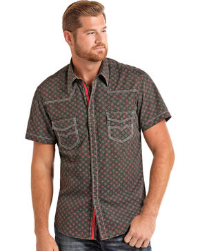 Rock & Roll Cowboy Men's Bleach Washed Print Short Sleeve Shirt, Black, hi-res