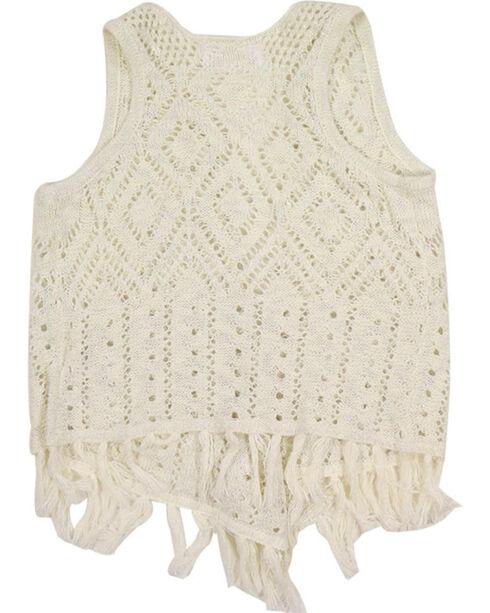 Shyanne Girl's Fringe Sweater Vest, Natural, hi-res