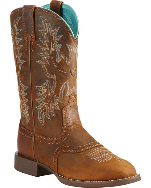 Ariat Women's Heritage Stockman Sassy Brown Boots - Round Toe, Brown, hi-res