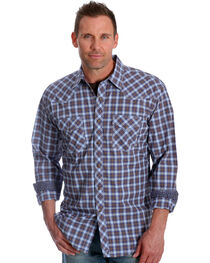 Wrangler Men's Blue Plaid 20X Advanced Comfort Competition Shirt - Tall, , hi-res