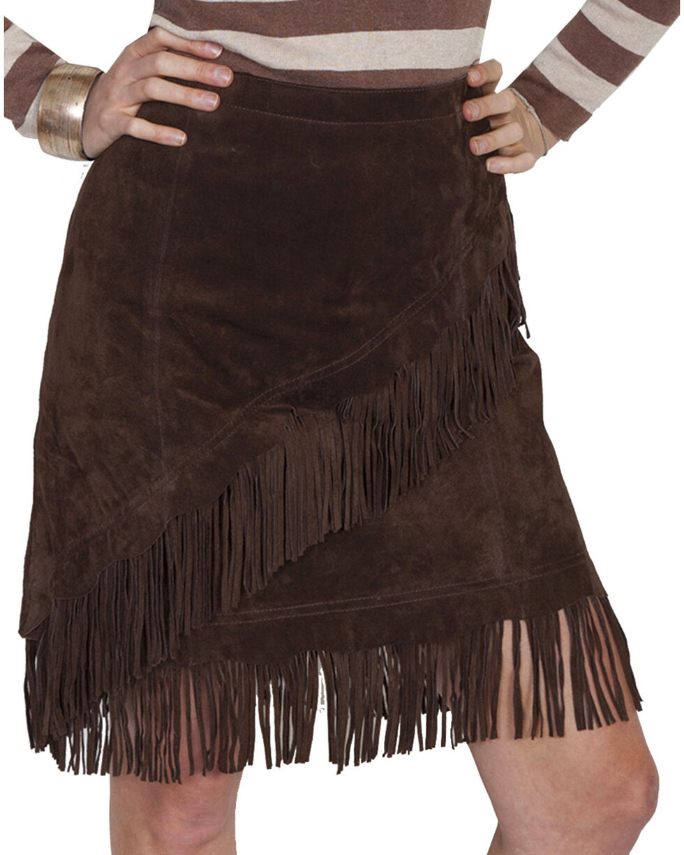 Scully Women's Suede Fringe Skirt, Chocolate, hi-res