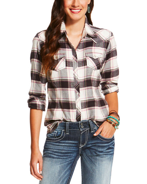Ariat Women's Teton Plaid Long Sleeve Shirt, Multi, hi-res