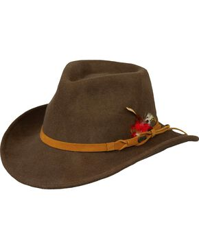 Outback Unisex Randwick Tassy Crusher Hat, Brown, hi-res