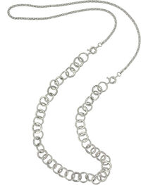 Montana Silversmiths Women's Silver Corded Links Necklace , , hi-res