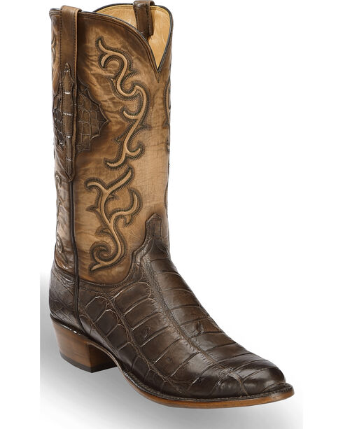 Lucchese Men's Ace Chocolate Giant Gator Western Boots - Round Toe , Chocolate, hi-res