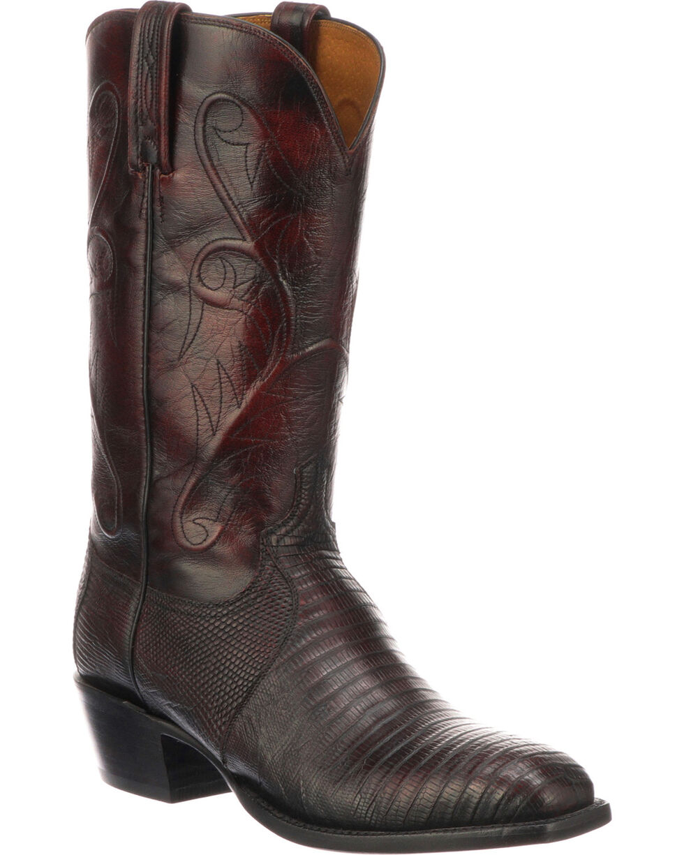Lucchese Men's Handmade Benton Black Cherry Lizard Cowboy Boots - Round Toe , Black Cherry, hi-res