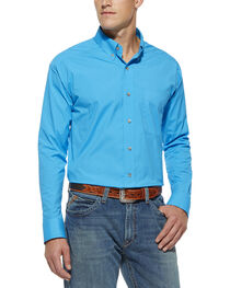 Ariat Men's Solid Pop Long Sleeve Performance Shirt, Blue, hi-res