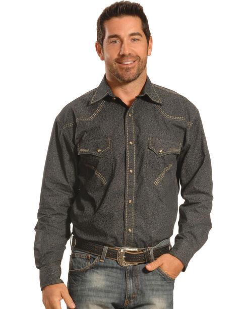Crazy Cowboy Men's Grey Print Heavy Stitch Western Snap Shirt , Grey, hi-res