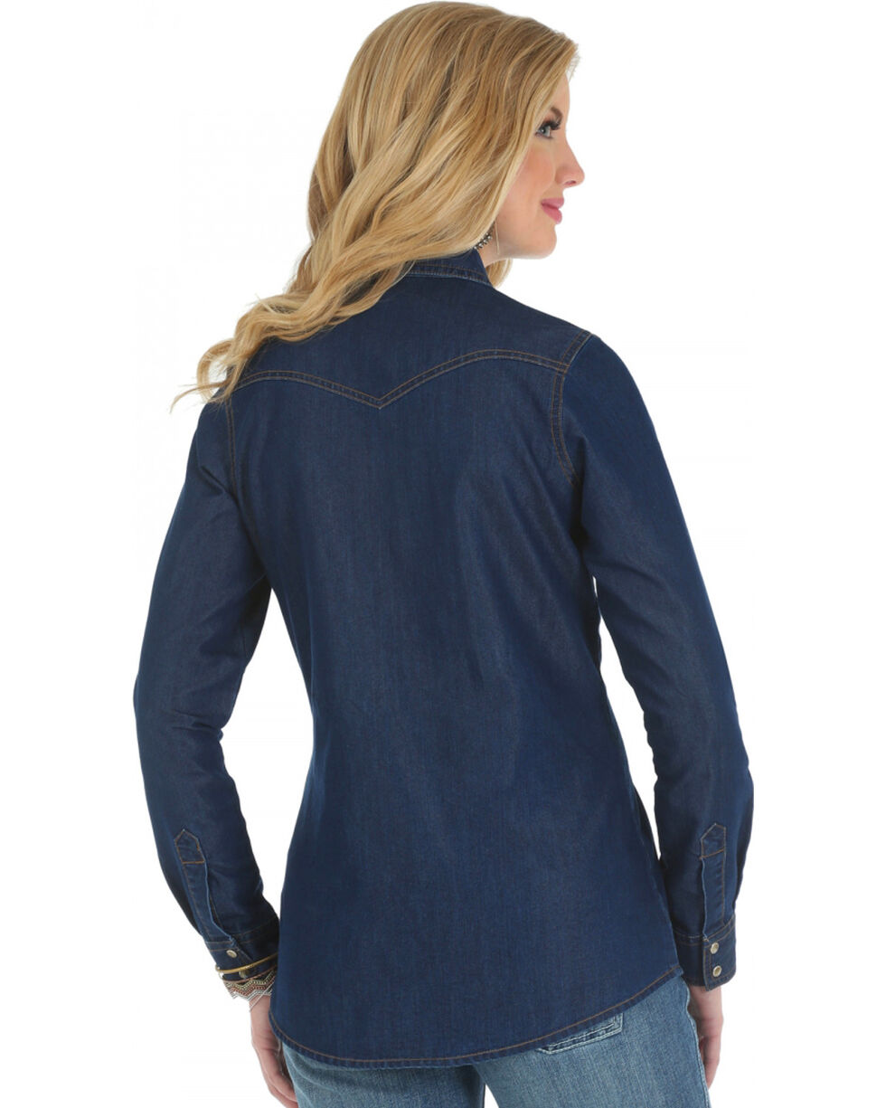 Wrangler Women's Denim Western Yoke Long Sleeve Shirt, Dark Denim, hi-res