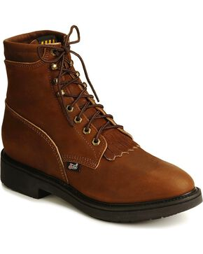 Justin Men's Lace-R Work Boots, Brown, hi-res