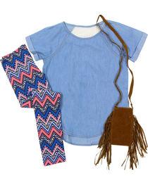 Self Esteem Girls' Denim Shirt, Patterned Leggings and Fringe Bag Set, , hi-res
