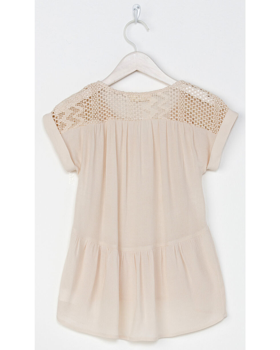 Miss Me Girl's Be My Babydoll Top , Taupe, hi-res