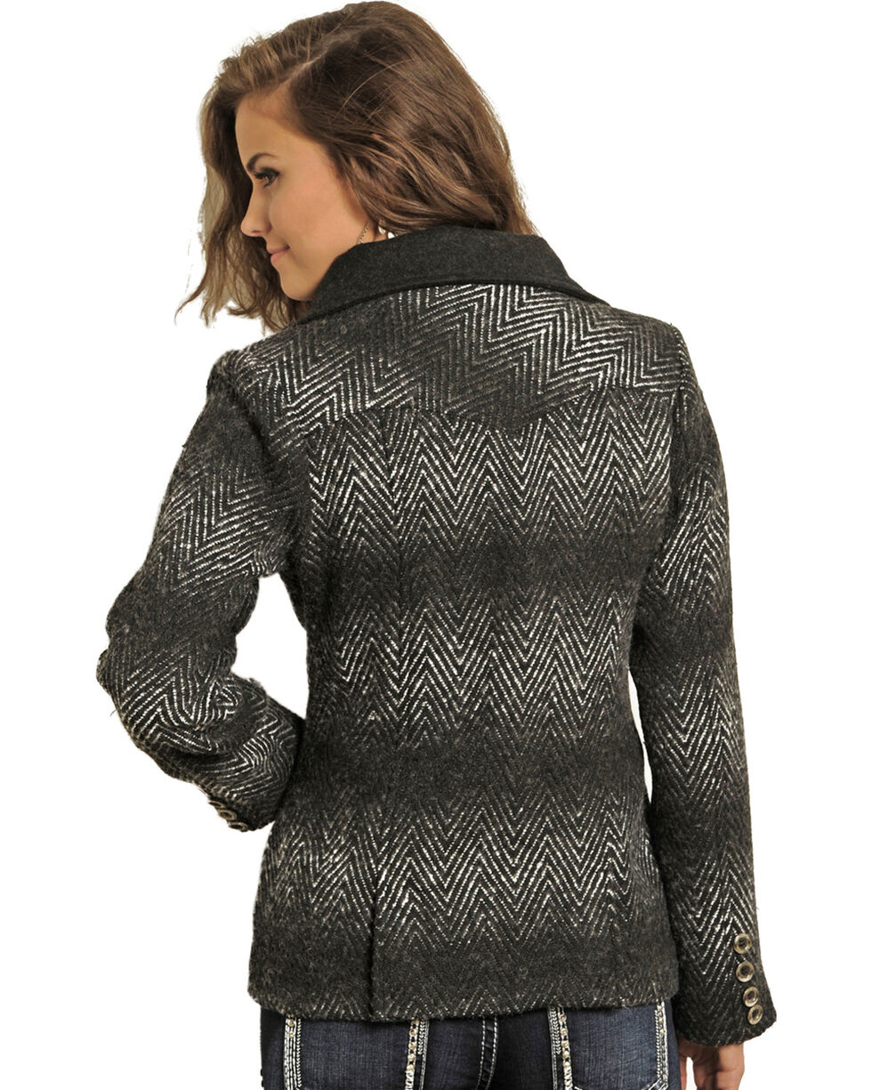 Powder River Women's Aztec Wool Double Breasted Coat, Black, hi-res