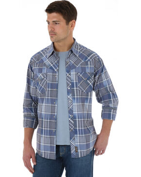 Wrangler Retro Men's Navy Plaid Western Shirt , Navy, hi-res